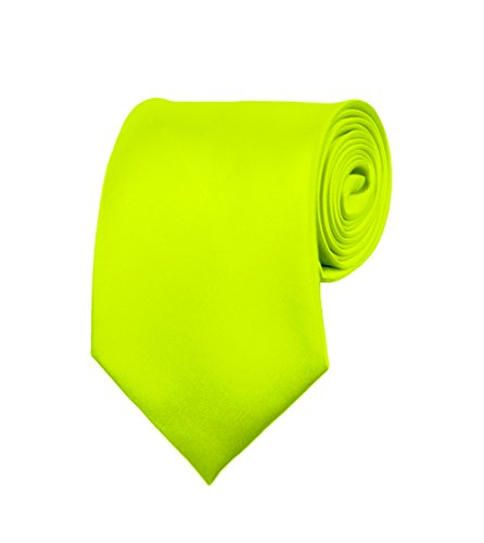 Lime Green Necktie (Mens Neckties - Solid Color Ties - Multiple Colors - Classic 3.5