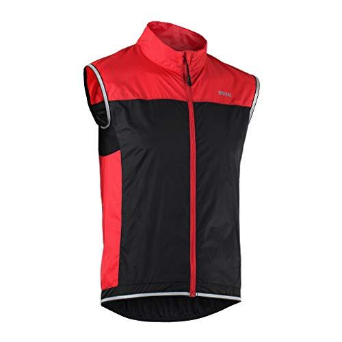 Coupe Résistant Veste Vent Rouge Fluo Pliable Léger Sans Cyclisme Course Manches Unisexe Tofern Running Vélo Gilet XWcBwRUqg