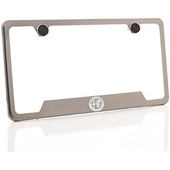 Amazon.com: Alfa Romeo Black License Plate Frame (Zinc