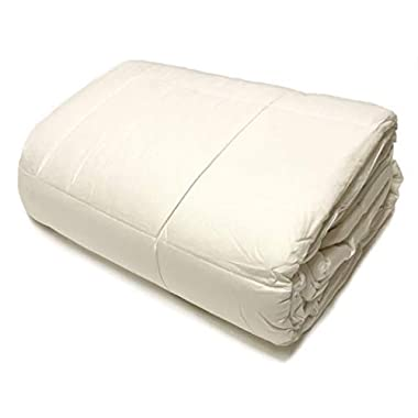 OrganicTextiles Wool Filled Bed Comforter, Natural White, with Organic Cotton Covering, Machine Washable, Natural, Hypoallergenic, Breathable, Toxic Free |King SizeI