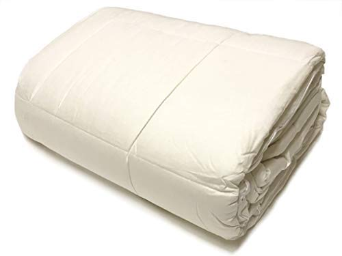 (OrganicTextiles Wool Filled Bed Comforter, Natural White, with Organic Cotton Covering, Machine Washable, Natural, Hypoallergenic, Breathable, Toxic Free |King XL Size, Extra Heavy|)