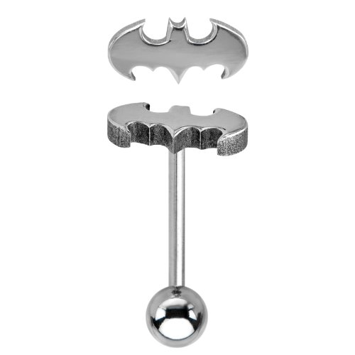 Batman Logo Barbell Tongue Ring - Officially Licensed