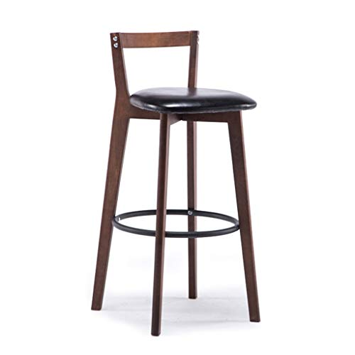 Industrial Style Wood Stool | Vintage Chair with PU Cushion for Bar Kitchen (Color : Color#1-2, Size : Seat Height: 60cm)