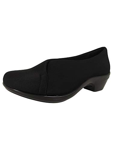 Aravon Womens Kitt Asym Slip On Pump Shoes, Black Stretch, US 5.5