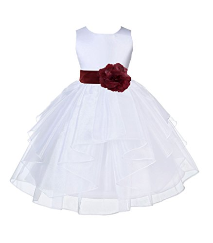 Wedding Pageant White Shimmering Organza Flower Girl Dress With Tiebow 4613T - Bridesmaid Six Dress After Satin