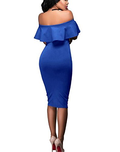 Strapless Club Dresses Blue Sexy Women Shoulder BUETYART Bodycon Backless Party Off S8EBzxq