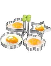 قالب بيض مقلي مكون من 4 أشكال غير لاصق من الفولاذ المقاوم للصدأ قالب فطيرة عجة حلقات فطيرة