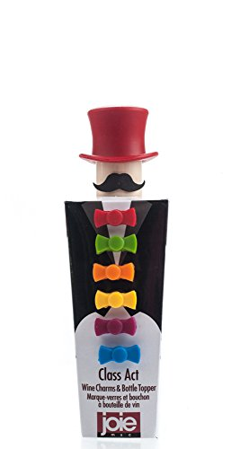 Joie MSC 49733 Hat Topper and Bow Tie Wine Charm, Set of 6, Assorted Colors