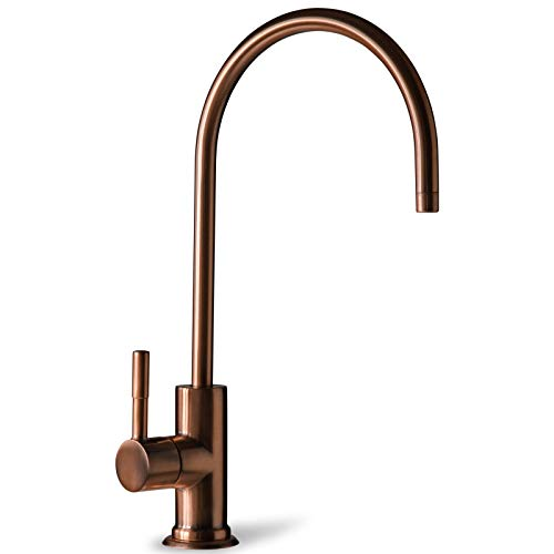 iSpring GA1-AW Kitchen Bar Sink Lead-Free Drinking Water Faucet, Reverse Osmosis Faucet, Contemporary Style, High Spout, Antique Wine Finish (For Wine Faucet)
