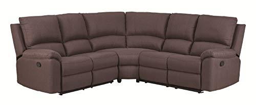 Blackjack Furniture 9241-BROWN-PWR-SECT Artisan Ultra Modern Living Room Power Reclining Sectional, 128