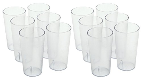 ChefLand Stackable Restaurant Beverage Cup Break-Resistant Plastic Tumbler, 16-Ounce, Clear, 12-Pack