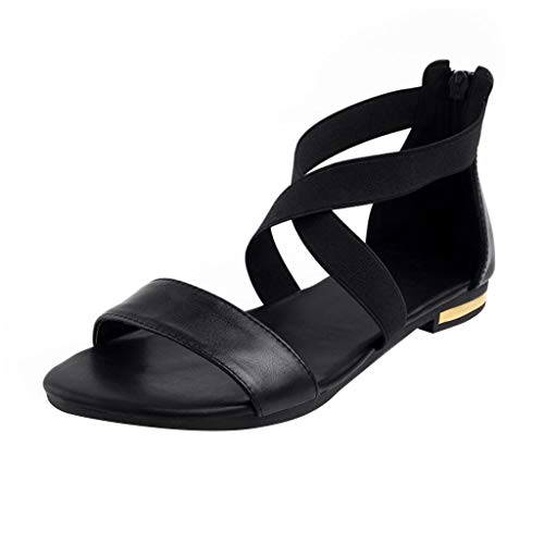 (GHrcvdhw Women's Shoes Summer Stylish Recreational Black Leather Square Low-Heeled Ladies Sandals)