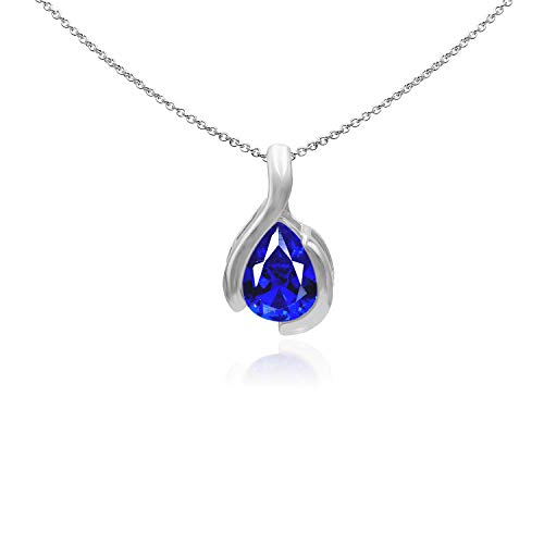 Sea of Ice Sterling Silver 9x7mm Pear Shape Created Blue Sapphire Pendant Necklace for Woman, 18 Inch