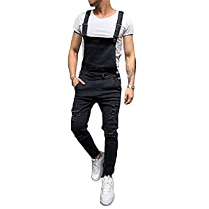 Men's Denim Bib Overalls Fashion Ripped Jeans Slim Jumpsuit with Pockets