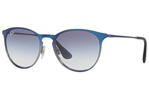 Ray-Ban METAL UNISEX SUNGLASS - SHOT BLUE METALLIC Frame CLEAR GRAD LIGHT BLUE Lenses 54mm - Ban Clear Lense Glasses Ray