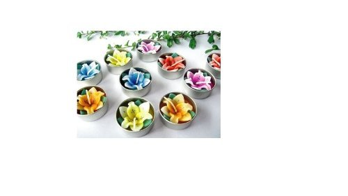 Relax spa shop® Lilly Flower Candle in Tea Lights, Floating Candles, Scented Tea Lights, Aromatherapy Relax (Pack of 10 Pcs.)