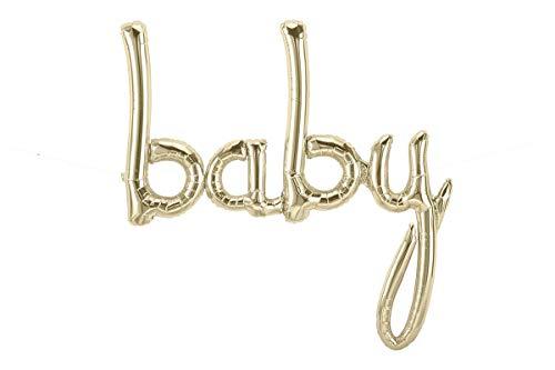 46'' White Gold Baby Script Balloon by Jamboree Party Box