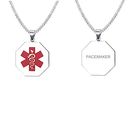 - VNOX PACEMAKER Medical Alert ID Stainless Steel Hexagonal Geometry Pendant Necklace for Men Women,24