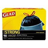 GLAD 70313 Drawstring Outdoor 30-Gallon Trash Bags, 1.05 Mil, 30'' x 33'', Black (Pack of 90)
