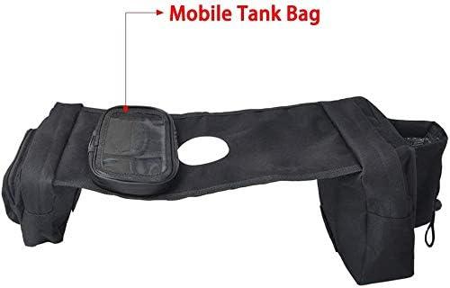 Saddle Bag Snowmobile Storage Bag Mobile Cup Holder for UTV Yamaha Kawasaki Scooter Universal ATV Motorcycles Fuel Tank Bag with Mesh Pocket Black