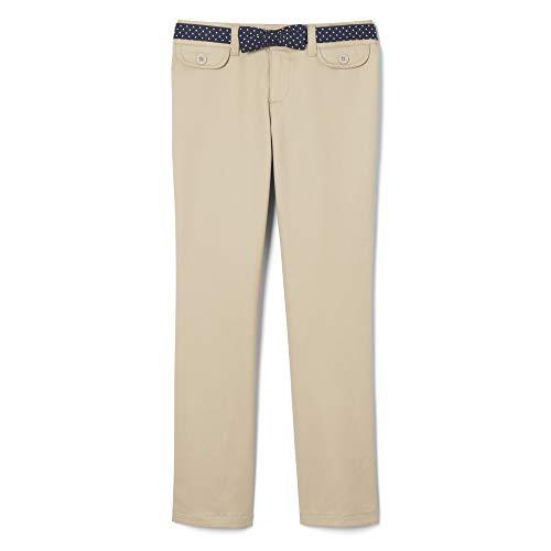 French Toast Girls' Big Twill Straight Leg Belted Pant, Khaki, 16 ()