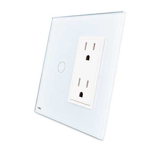 LIVOLO White Wall Touch Light Switch with LED Indicator with Wall Outlet US Standard Vertical, 1Gang Switch + US Socket(15A), VL-C501C2US-11