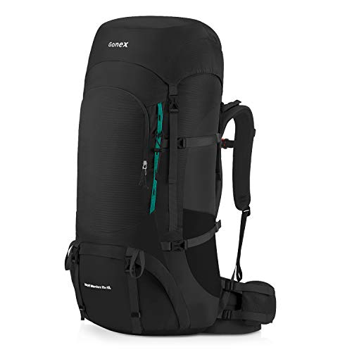 9d2c62a70224 Gonex 70L 80L Internal Frame Backpack for Backpacking Hiking Traveling  Mountaineering Rain Cover Included Black