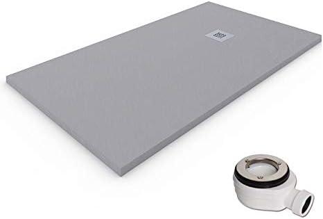 Plato de ducha de resina-antideslizante-textura pizarra-gris-ral7030 80x80
