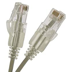 InstallerParts Ultra Slim CAT6 Ethernet Cable Booted 0.5 FT - Gray - Professional Series - 10Gigabit/Sec Network / High Speed Internet Cable, 550MHZ