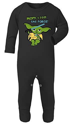 Baby Yoda Star Wars Print Footies Pajamas Hypoallergenic Oeko-TEX Certificate (Black, 6-12 -