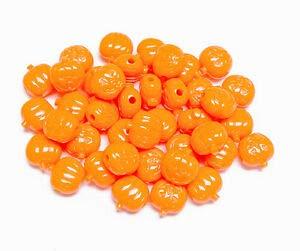 Jack-O-Lantern Pumpkin Shaped Pony Beads Opaque Orange 25pc Made n USA Halloween Crafting Key Chain Bracelet Necklace Jewelry Accessories -