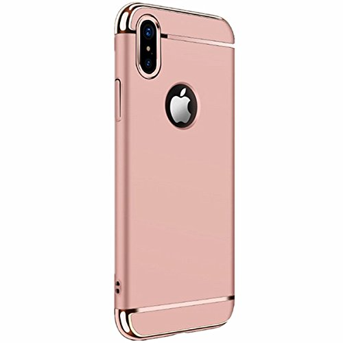 Beige Protector Case - iPhone X case Luxury Electroplating Premium 3 In 1 Shockproof Protector cover For iPhone10 (rose gold)