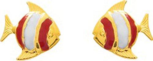 Robbez Masson - Boucles d'oreilles Enfant - 8031B - Or 750 jaune - Poissons