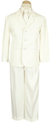 5 Piece Ivory Suit with Shirt, Vest, and Tie - Size XL (18 Month)