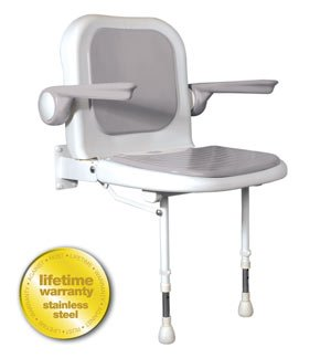 ARC Inc 04230P 4000 Series Shower Seat Padded with Back and Arms - Gray - 23 Inch W