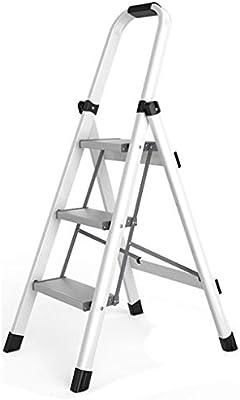 Escalera plegable taburete banqueta Escalera de paso 3 Step Peso ligero, Plegado para trabajo pesado Ahorre espacio Taburetes con escalón ancho, para la cocina Home Shop, 150 kg (color : Blanco): Amazon.es: