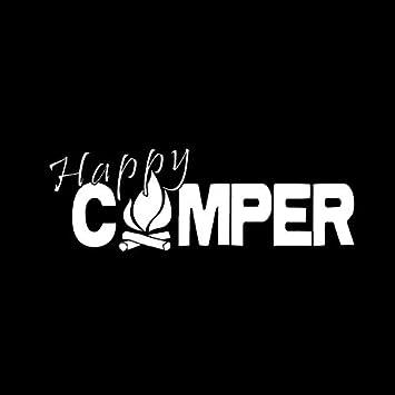 Etiqueta engomada del Coche CM Happy Camper Camping de Fuego Pegatinas Divertidas al Aire Libre calcoman/ía Negro//Plata de Vinilo