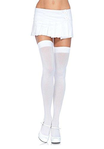 Leg Avenue Women's Plus-Size Over The Knee Thigh Highs Hosiery, White, Plus-Size (Plus Size High Socks)