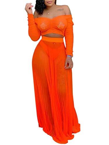 Orange Outfit - Women's Sexy Summer 2 Piece Maxi Mesh Dress Crop Top Skirt Set Beachwear Off Shoulder 2 Piece Outfit Orange S