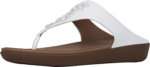 FitFlop Women's Banda Leather Toe-Thong Sandals - Crystal Slide, Urban White, 5 M US