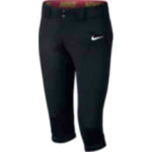 (Nike Kids Girls' Diamond Invader Softball/Baseball Pant (Little Big Kids), Black/Tm White, XS (6X)