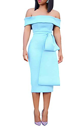 Occasion Party Evening Cocktail - Wonderoy Women's Ruffles Off Shoulder Fitted Club Party Cocktail Bodycon Midi Dress L A# Sky Blue