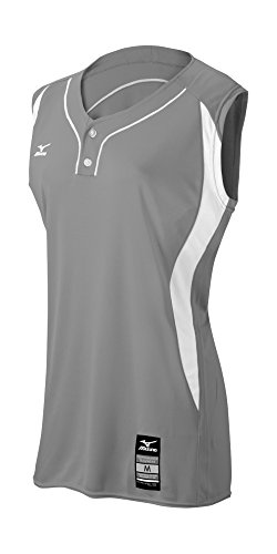 Mizuno Girl's Elite 2-Button Game Jersey - Sleeveless, Grey-White, Small (S)