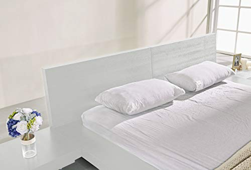 Bedroom Fujian Modern Bed with 2 Nightstands Queen Size (Ash White) modern beds and bed frames