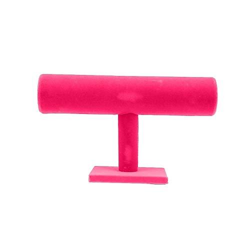 (3-Tier Jewelry Bracelet Watch Bangle Display Holder Stand Showcase T-Bar Stand Rack Bracelet Holder 300175250 mm,Rose Red)