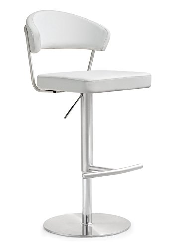 TOV Furniture The Cosmo Collection Modern Style Eco-Leather Upholstered Kitchen Dining Room Bar Area Steel Barstool with Back, White
