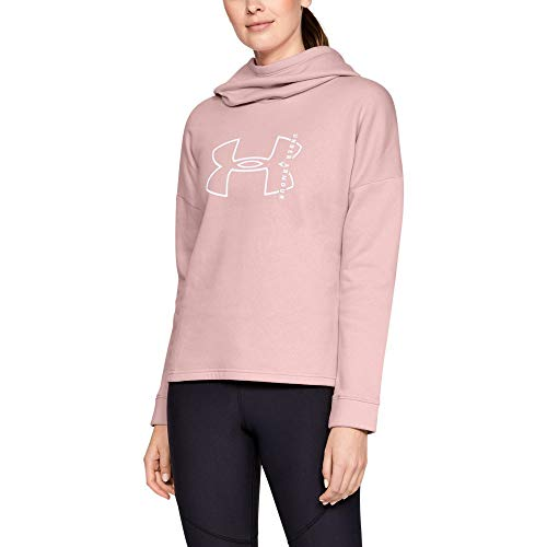 Under Armour Women's Rival Fleece Big logo hoodie, Flushed Pink (602)/White, X-Large