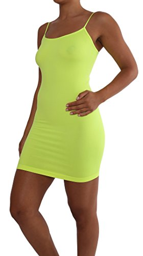 [ITZON Woman`s T01 Seamless Long Camis (T01-Neon Yellow)] (Neon Outfits)