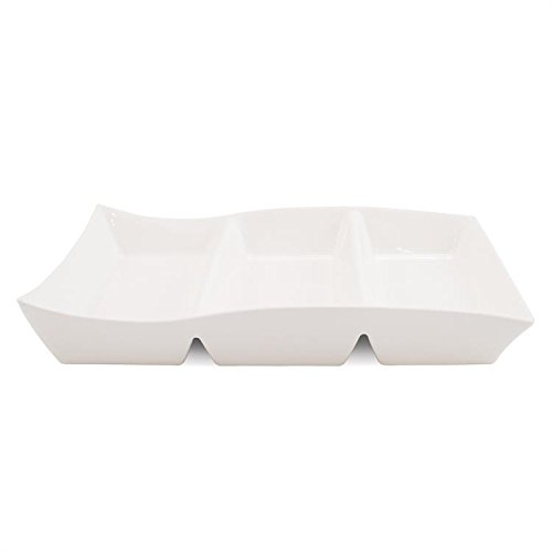 White Basics Collection, Motion 3-Part Divided Dish, (Three Part Divided)