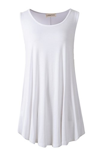 LARACE Women Solid Sleeveless Tunic for Leggings Swing Flare Tank Tops (L, White)
